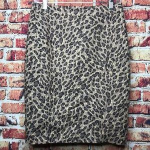 Loft Taupe Gray Leopard Cheetah Print Pencil Skirt